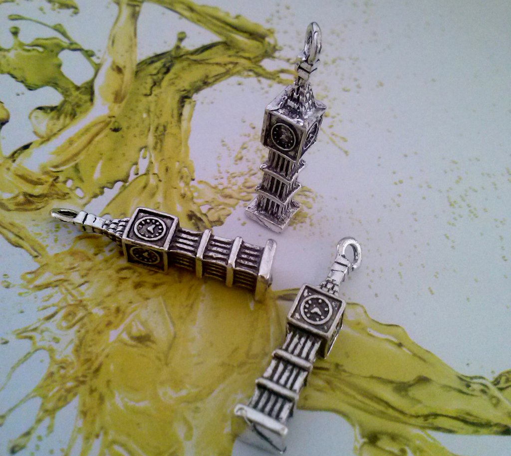 TORRE DI LONDRA IN ARGENTO - CHARMS - CIONDOLO - PENDENTE - 3D - HOBBY