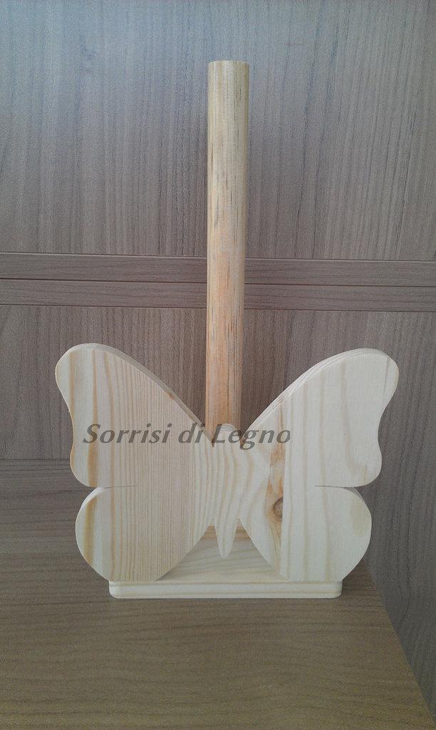 Portarotolo da cucina in legno - farfalla intera