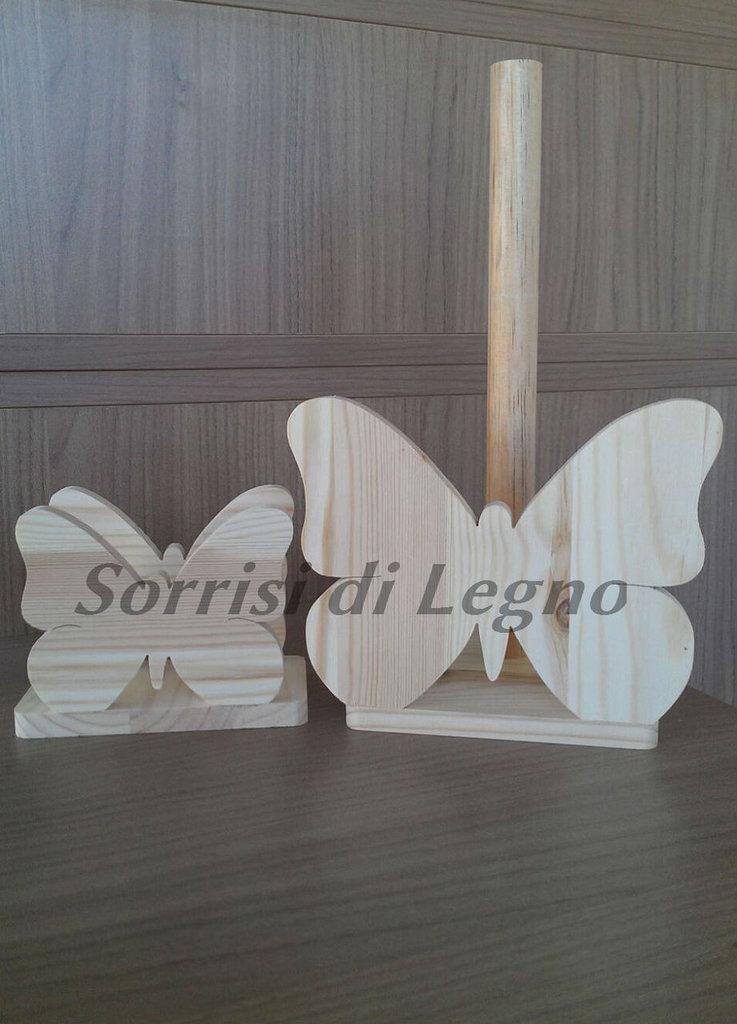 Abbinato portatovaglioli e portarotolo farfalla in legno