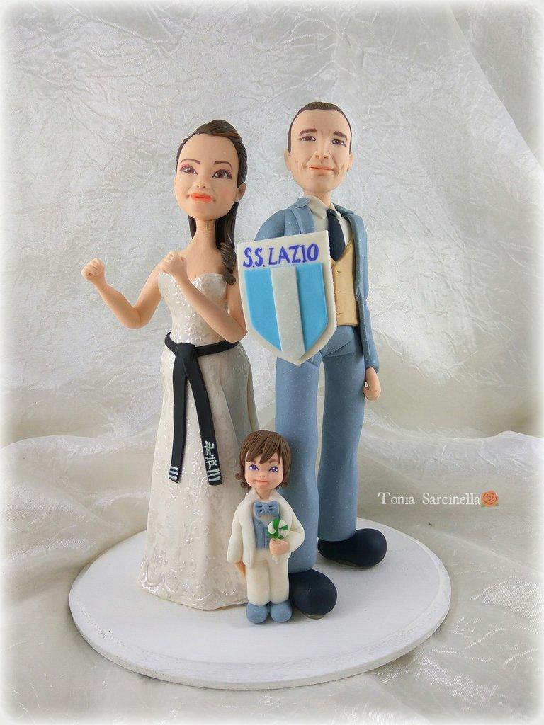 Cake topper sposi con bimbo
