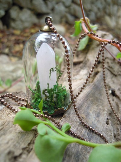 pendente micro terrarium quartz