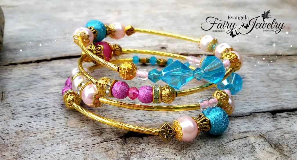 Bracciale a spirale dorato con perle miste vetro stardust cristalli oro