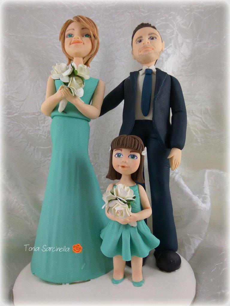 Cake topper sposi con bimba tiffany
