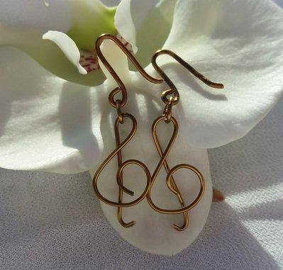 Orecchini pendenti musicali chiave di violino,tecnica wire, filo gioielli bronzo