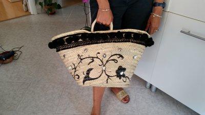 borsone paglia decorato
