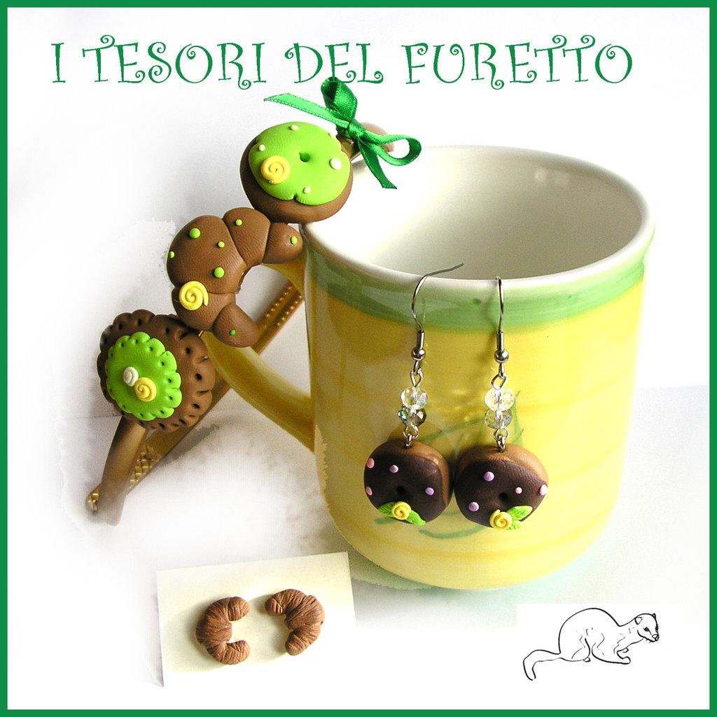 """Parure """" Cerchietto croissant e orecchini """" verde donut idea regalo bambina Natale comunione cresima clip fimo cernit"""