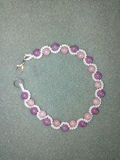 Braccialetto perle viola e perline bianche