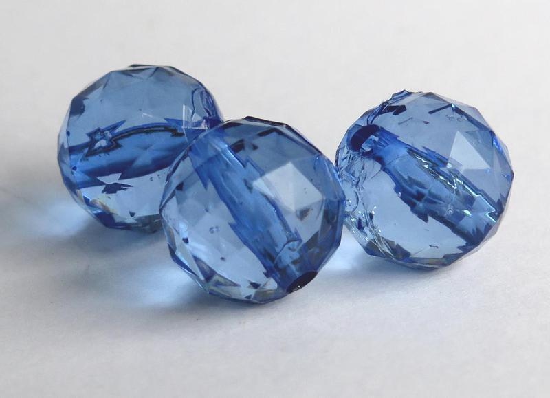 6 GRANDI Perle sfaccettate blu 14 mm PRL164