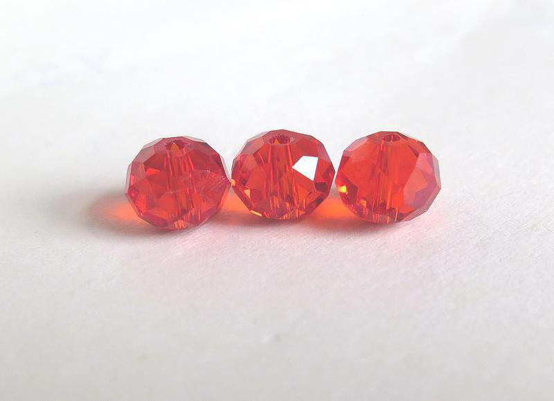 10 Perle sfaccettate rosso 8 mm CRYSTAL PRL169