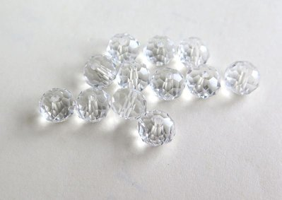 10 Perle sfaccettate bianco 8 mm CRYSTAL PRL171
