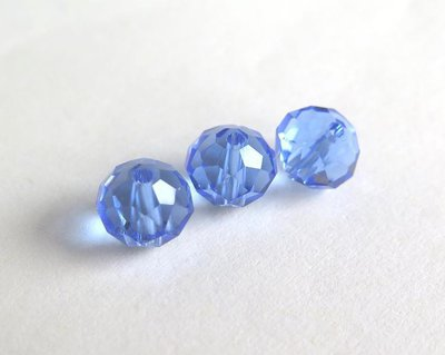 10 Perle sfaccettate 8 mm CRYSTAL azzurro PRL174