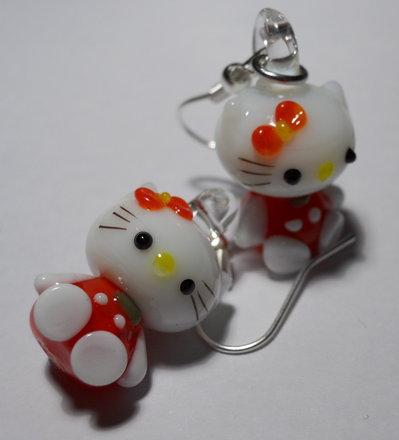 Kitty orecchini rossi