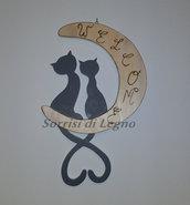 """Gatti sulla luna, tavoletta per ingressi con scritta """"welcome"""""""