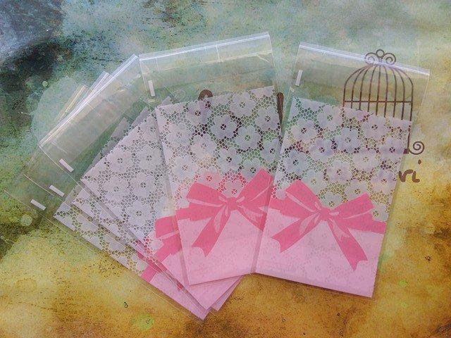 10 Bustine con fiocchetto rosa per confezionamento