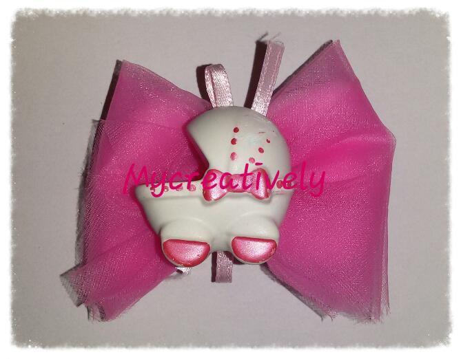 Bomboniera velo rosa con carrozzina decorata