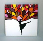 Danza dell'albero, quadro dipinto a mano su tela cm 40x40