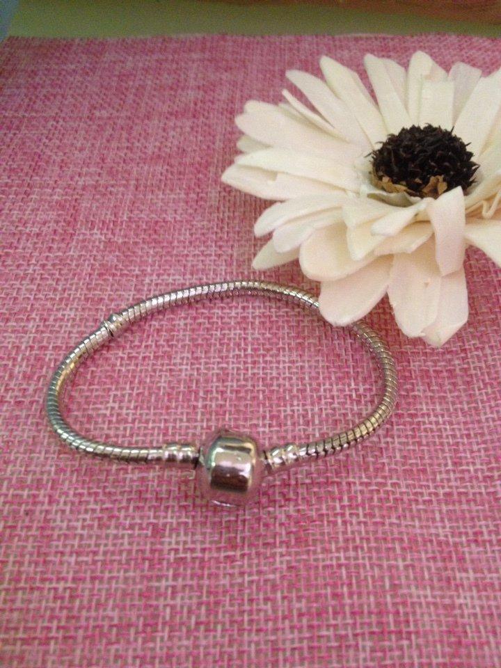 bracciale in acciaio base per charms e perle