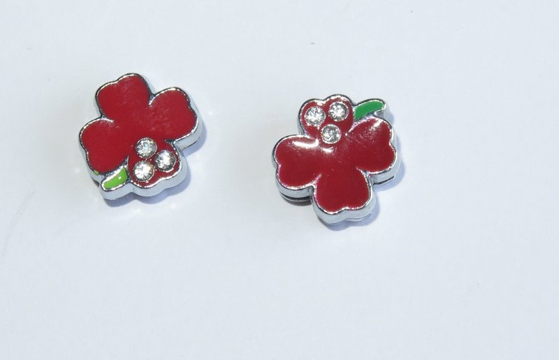 2 Slide Charms fiore rosso PRL197