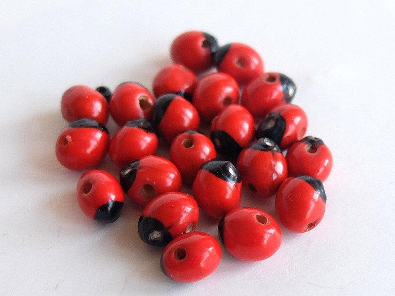 40 Perle rosso nero PRL207