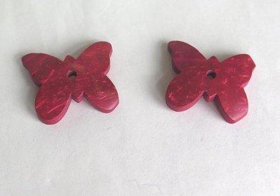2 FARFALLE di legno rosso PRL228