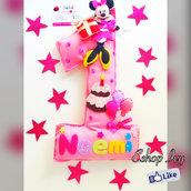 Numero uno decorazione compleanno centrotavola con nome banner con minnie