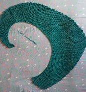 Sciarpa estiva coda di drago in cotone color petrolio lavorato all'uncinetto