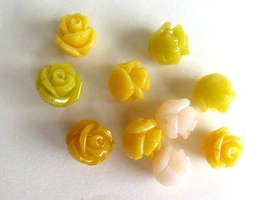 10 Perline Synthetic Coral tonalità giallo PRL243