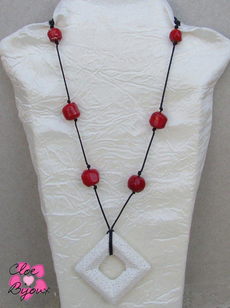 Collana Pietra lavica bianca e rossa