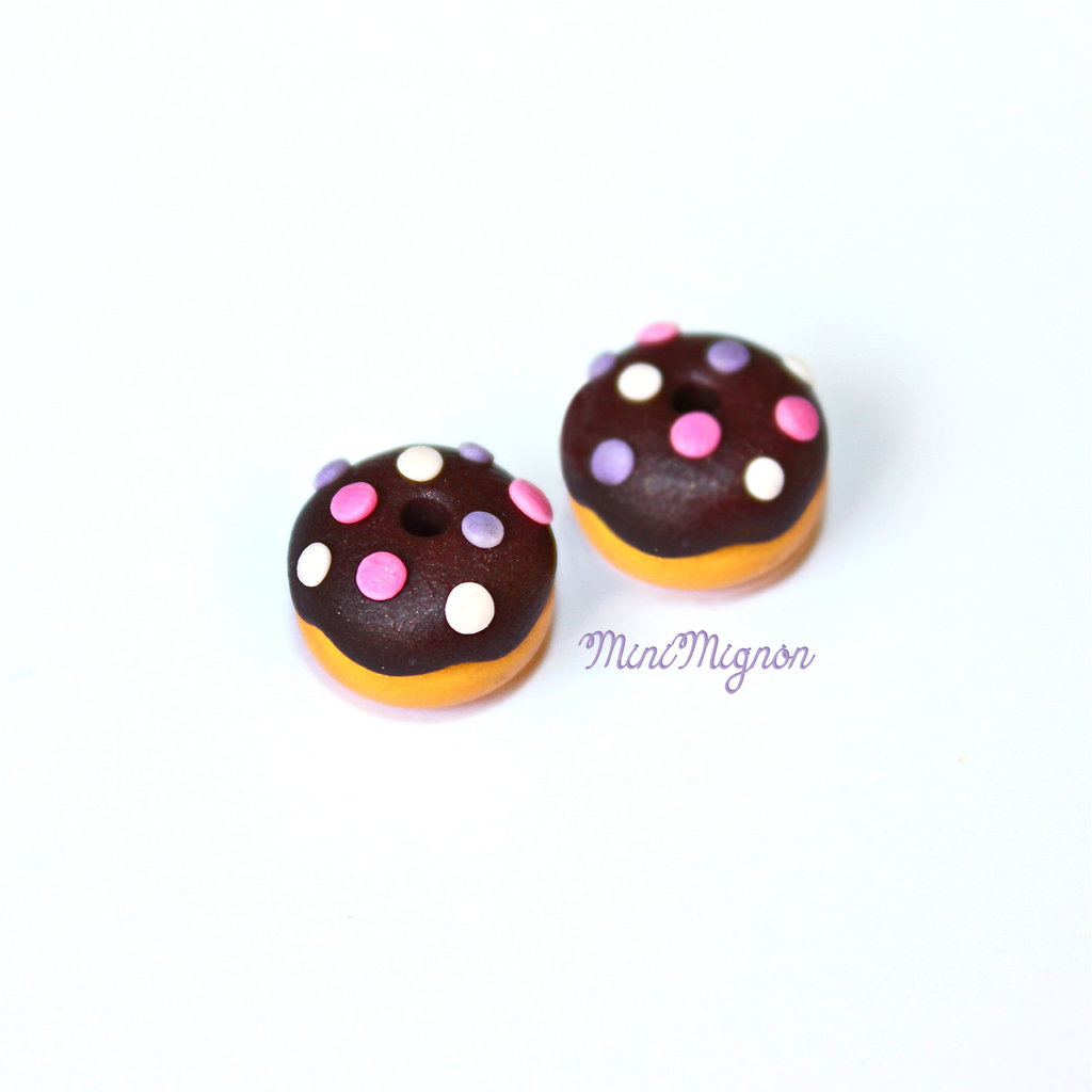 Orecchini lobo con mini Donuts glassati