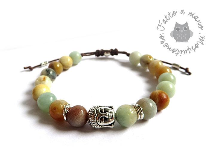 Bracciale testa di Buddha con perle da 8mm in perle Amazzonite naturale uomo o donna