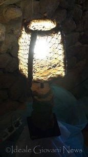 Lampada fette di legno