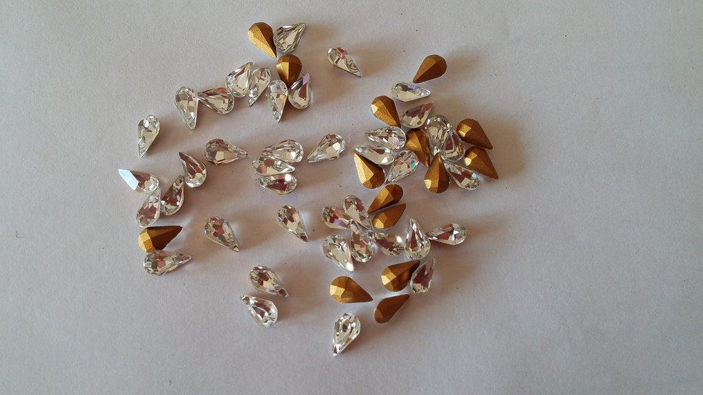 10 Strass a goccia 8 x 5 mm [ 10 pezzi ]