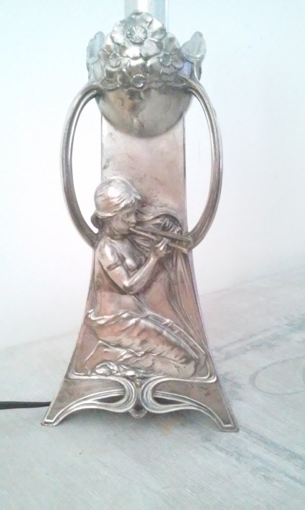 Argento antico WMF Art Nouveau Liberty Jugendstil Lampada da tavolo Abat Jour