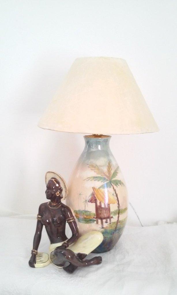 Lampada vaso ceramica italiana vintage stile etnico Africa