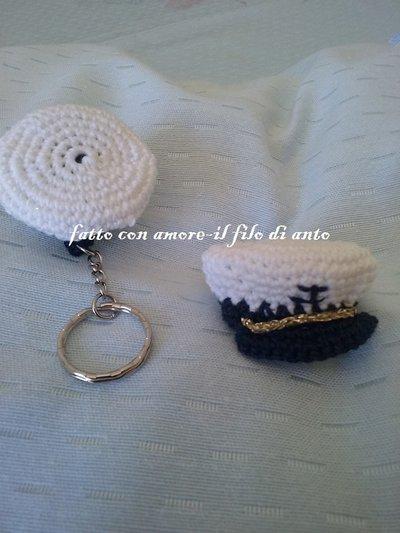Portachiavi cappellino alla marinara / bomboniera / segnaposto