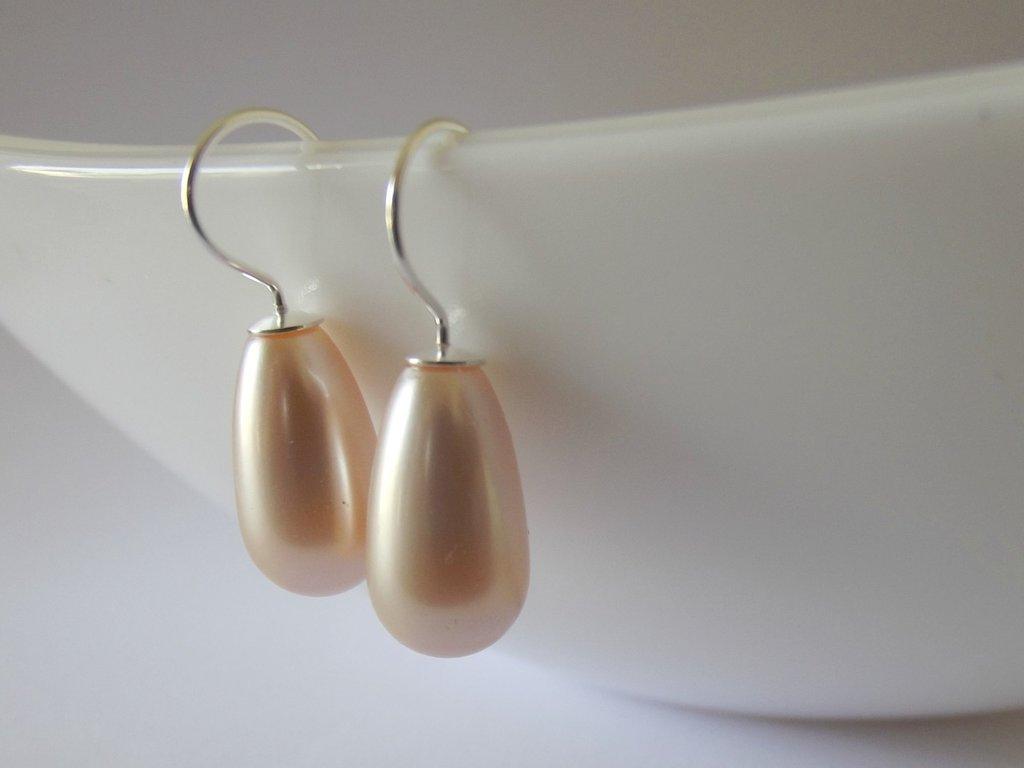 Orecchini argento 925 pendenti con perla a goccia color rose peach