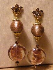 Orecchini con avventurina e perle di vetro