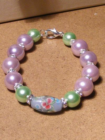 Bracciale perla fiorita