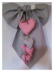 Fiocco nascita shabby 6 cuori pendenti modello pink regal