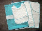 Set asilo 4 pezzi da ricamare tovaglietta bavaglino asciugamani sacca turchese