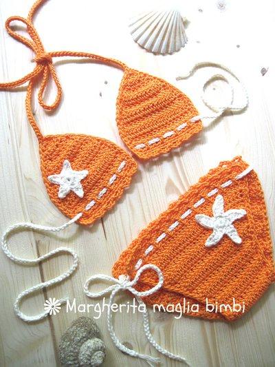 Bikini bambina - costume da bagno fatto a mano all'uncinetto - costume crochet