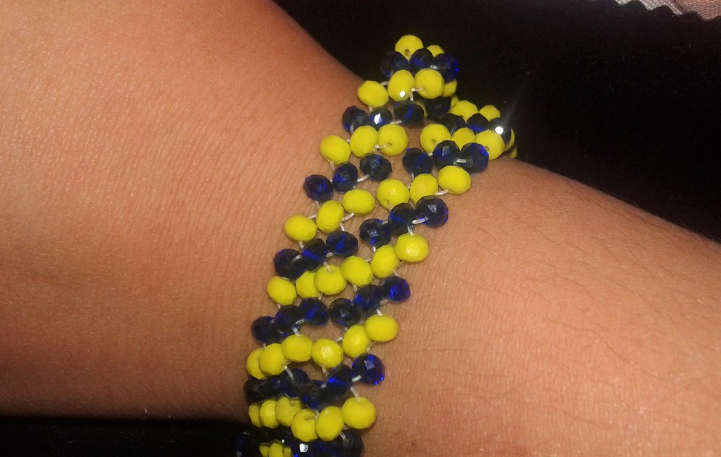 Bracciale doppio giro di cristalli gialli e blu