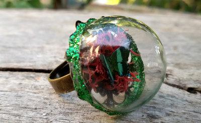 Anello terrario farfalla licheni rosso verde bronzo regolabile