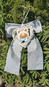 Fiocco Nascita azzurro con orsetto