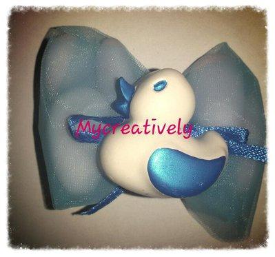Bomboniera velo azzurro con paperella decorata