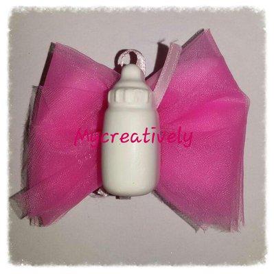 Bomboniera velo rosa con biberon