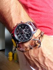 Bracciale uomo ANCORA corda nautico pelle braccialetto MARRONE chiaro ANCHOR SILVER