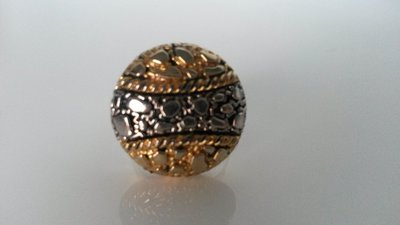 anello con bottone vintage argento e oro