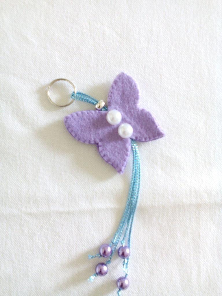 Portachiavi farfalla in feltro