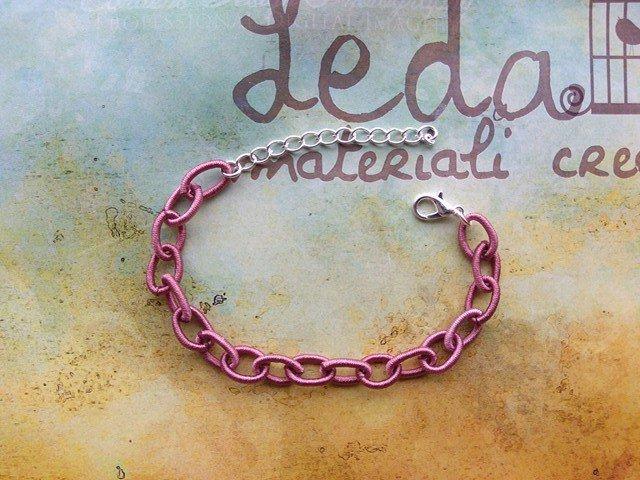 Base bracciale catena di seta rosa antico
